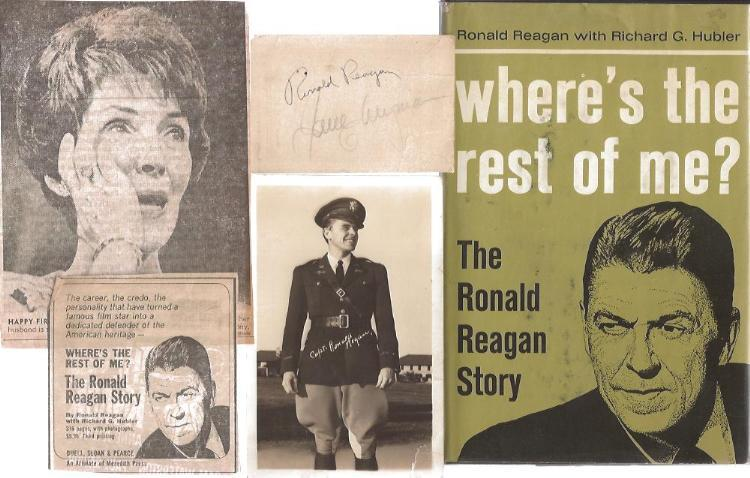 Image for Where's the Rest of Me? The Ronald Reagan Story (Book with Signed 1965 Calendar Card, Newsprint Book Announcement, Original Photo Postcard, and Clipped Newspaper Articles)